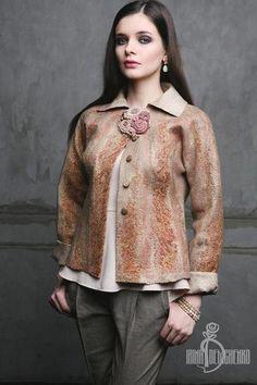 Пиджаки, жакеты ручной работы. Валяный жакет «Desert». Irina Demchenko. Ярмарка Мастеров. Прогулка, шелк