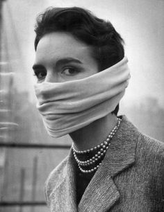 Woman during the great London smog 1952