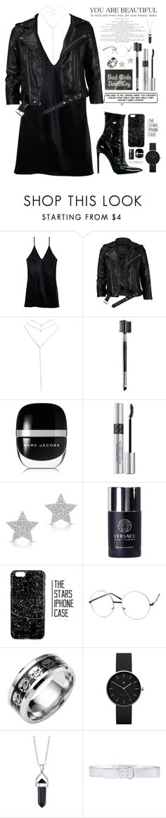 """black summer"" by anabelisstyle ❤ liked on Polyvore featuring Fleur du Mal, VIPARO, Wet Seal, Mary Kay, Marc Jacobs, Christian Dior, Diamond Star, Versace, Newgate and Bridge Jewelry"