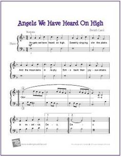 Angels We Have Heard On High  (Christmas) | Free Sheet Music for Easy Piano - http://makingmusicfun.net/htm/f_printit_free_printable_sheet_music/angels-we-have-heard-on-high-piano.htm