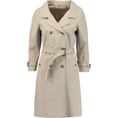 Michael Kors Collection Crinkled cotton-blend trench coat (22.125 RUB) ❤ liked on Polyvore featuring outerwear, coats, beige, double breasted coat, beige coat, brown trench coat, beige trench coat and short coat