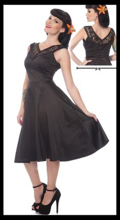 Flared Stretch Satin Dress by Voodoo Vixen - would be cute with a cardigan.  Now if only I could wear heels!