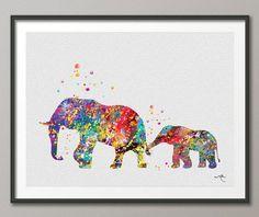 Elephant Family 2 Art Print Watercolor Painting Wedding Gift idea Wall Art Giclee Wall Decor Art Home Decor Wall Hanging No 225