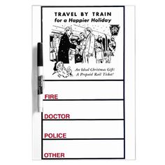 Travel By Train-Pennsylvania Railroad Dry Erase Board -$23.95 - #stanrail - Medium w/ Pen  Vintage Travel by Train for A Happier Holiday, on The Pennsylvania Railroad. Add this to your to-do list: Get a great custom dry-erase board from Zazzle! Vibrantly printed using the AcryliPrint®HD process, you can customize this dry-erase board with any photos, artwork, or text to create a board as unique as you. #stanrails_store