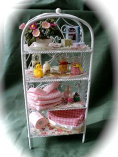 Dolls House Miniatures- White Wire Pink Vanity Bathroom Shelves by LittleHouseAtPriory on Etsy https://www.etsy.com/listing/84765989/dolls-house-miniatures-white-wire-pink