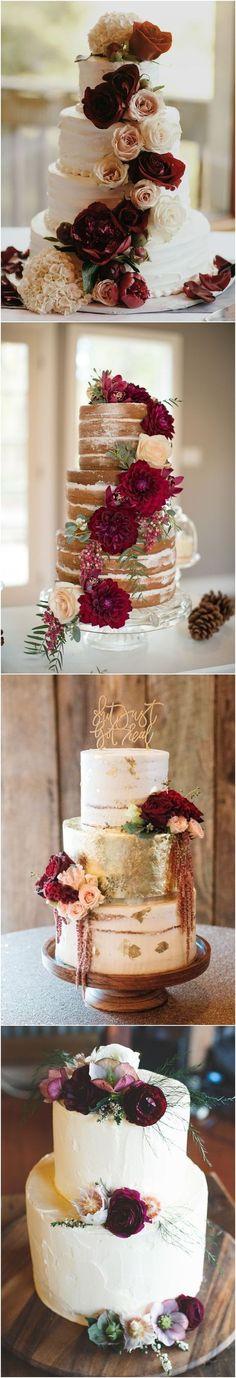 Burgundy wedding cake idea #weddingcakes #red #wedding #weddingideas #fallwedding ❤️ http://www.deerpearlflowers.com/burgundy-wedding-cakes/ #fallweddingcakes