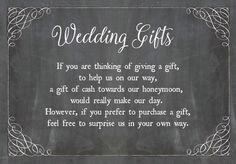 Chalkboard Personalised Wedding Gift Wish Poem Money Card - Ask for cash as a wedding gift