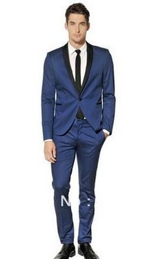 new Fashion Groom Men Dark Blue Tuxedo Black Shawl Lapel Wedding Suit Jacket & Pants Free Shipping MS0347