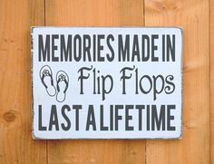 Flip Flops Sign Beach Decor Pool Decor Wall Art Beach Sign Rustic Wood Theme Lake House River Summer Life Memories Made Quote Christmas Gift