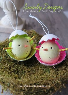 www.swirlydesigns.com Handmade Easter Ornament Collection #easter #eastergifts #handmade #spring #chicks #polymerclay