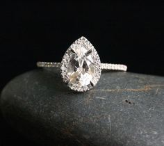 14k White Gold 9x6mm White Topaz Pear and Diamonds Wedding or Engagement Ring (Choose color and size options at checkout)