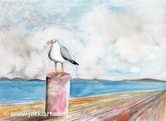 """""""Pensive Seagull"""" by Jakki Moore ~ French Inks & Watercolour www.jakkiart.com #Seagull #Pier #JakkiMoore Watercolour, Backyard, French, Bird, Painting, Animals, Collection, Pen And Wash, Watercolor Painting"""