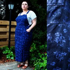 Plus Size  Vintage Blue Floral Overall Maxi Dress by TheCurvyElle, $45.00