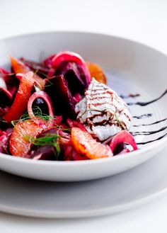 Roasted Beet Salad with Fennel, Orange, and Whipped Ricotta. A light, refreshing summer salad!