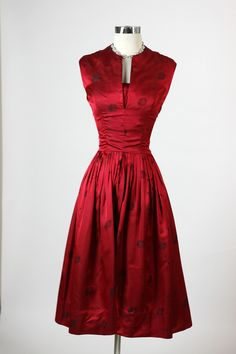~1950s Red Satin Cocktail Dress~