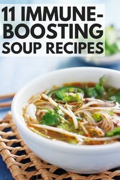 Feel better – and stay better! – with this collection of immune boosting soup recipes! Whether you're suffering from a mild cold or down for the count with the flu, these healthy soup recipes are the perfect natural remedy to boost your immune system and help you feel better ASAP. From Thai chicken noodle soup to Vietnamese vegan noodle soup and everything in between, these soups will help you and yours get through winter!
