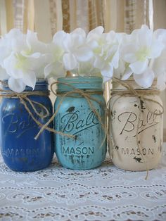 Mason Jars, Painted Mason Jars, Rustic Wedding Centerpieces, Baby Shower Decorations, Dark Blue, Light Blue And Creme Mason Jars