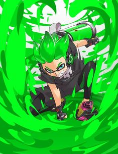 Splatoon 2 Green Inkling Boy makes a splashdown Nintendo Splatoon, Splatoon 2 Art, Splatoon Comics, Comic Manga, Comic Art, Wii U, Inkling Boy, Geeks, Game Character
