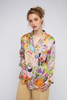 Garden Of Earthly Delights, Pajama Shirt, Silk Pajamas, Print Patterns, How To Draw Hands, Kimono Top, Long Sleeve, Sleeves, How To Wear