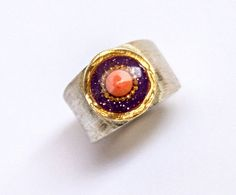 Coral ring - Sterling silver ring - Purple top with golden contour inlaid with red coral gem - silver jewelry for women