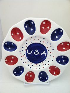 USA Red, White & Blue Deviled Egg Plate | ShadyLaneCeramics - perfect for 4th of July picnics!
