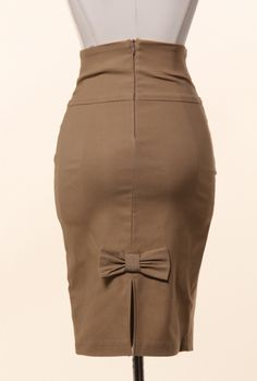 Business Casual Bow Back High Waist Pencil Skirt in Mocha