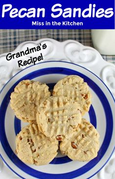 We have many discussions on the perfect cookie at our house.  I prefer them slightly under cooked and chewy and my husband says the crunchier the better.  These Pecan Sandies are the perfect balance of the two. Delicious Dinner Recipes, Best Dessert Recipes, Easy Desserts, Sweet Recipes, Holiday Recipes, Yummy Recipes, Yummy Food, Pecan Sandie Cookie Recipe, Pecan Sandies Cookies