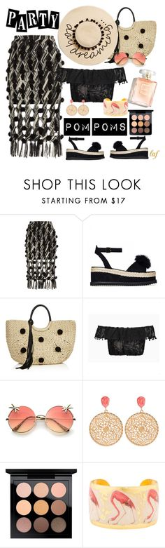 """Party Pom Poms"" by lois-boyce-flack ❤ liked on Polyvore featuring Tabula Rasa, Rebecca Minkoff, MAC Cosmetics, Évocateur, August Hat and PomPoms"