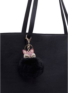 Rhinestone Fox Pom-Pom Hand Bag Charm. Starlight Designs · Keychains Charms d7617c24aa1df