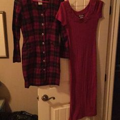Le Belle & Tickets of Ca 2 for one price cute ❤️🎈 Red plaid gold buttons size 2 other red is small Le belle and tickets of Ca  Dresses