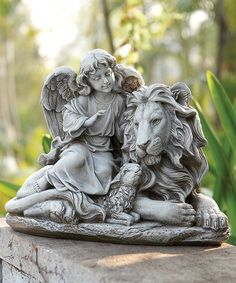 Look what I found on #zulily! Angel, Lion & Lamb Statue by Roman #zulilyfinds
