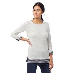 Mantaray Light grey striped print jumper | Debenhams