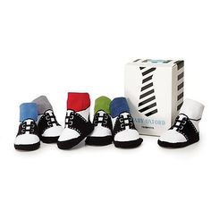 perfect for his uncle's wedding - at UncommonGoods: Baby Boy Oxford Socks - Set of Six for $24.00