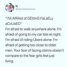 Not to mention that all these convicted rapist are doing almost no jail time. How the hell are you the ones who are scared? smh //// because what women fear on a daily basis a man fears going to prison Feminist Af, Intersectional Feminism, It Goes On, Patriarchy, Equal Rights, In This World, Equality, Memes, Things To Think About