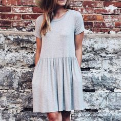 Super soft t-shirt dress with pockets. Fits true to size - loose fit.