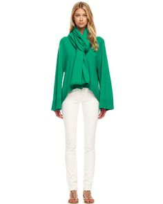 Arch-Hem Cashmere Sweater, Scarf & Skinny Jeans by Michael Kors at Bergdorf Goodman.