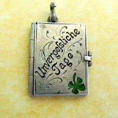 Antique German Silver Lucky Clover Locket Charm Unvergessliche Tage 1902