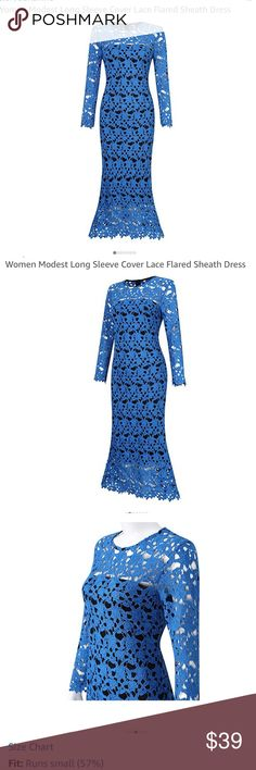 Women Modest Long Sleeve, Lace, black slip Dress Color: Blue Size: S, M, L, XL, 2XL Runs a size small. Size up! Size Chart: Please get it on the picture. Features: Material: 100% Polyester Splicing mermaid midi dress Exquisite cobalt blue.  Daily Cleaning: Dry Clean or Hand wash in cold water.No manch wash.Airing hang under the well-ventilated place. It you are a 1/2 size then go for the size up. Dresses