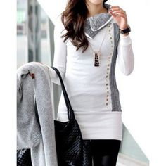 Stylish Turn-Down Collar Rivet Embellished Long Sleeve T-Shirt For Women (WHITE,L) in Tees & T-Shirts | DressLily.com