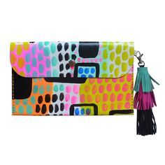 Abstract Art Painted Leather Clutch Bag, Leather Tassel Purse, Neon Bag - Boo and Boo Factory - Handmade Leather Jewelry