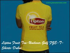 Lipton Fruit Tea-Unilever Gulf FZE-T-Shirts-Dubai | Customized Ladies Polo T-Shirts with Lipton Fruit Tea branding were produced for their Promoters. The logo was screen printed on the front LHS Chest & the back of the T-Shirts.
