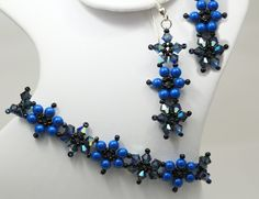 Deb Roberti's Crystal Flower Bracelet and Earrings done in 2015 Spring Fashion Color Classic Blue