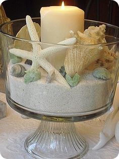 Beach centerpiece in glass trifle with sand, shells, and candles.  Please note this is an inspirational picture ONLY not a DIY/instructional link.                                                                                                                                                     More