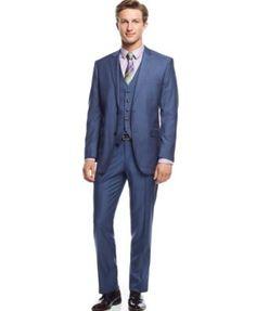 Perry Ellis Portfolio Blue Sharkskin Vested Slim-Fit Suit