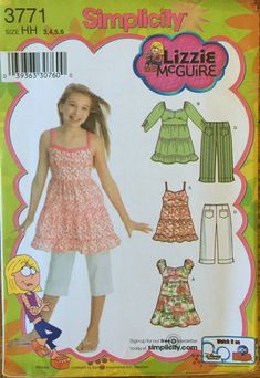 Uncut Simplicity 3771 Size: 7 - 8 - 10 - 12 - 14 Bust: 26 - 27 - 28 - 30 - Waist: 23 - 23 - 24 - 25 - 26 Hip: 27 - 28 - 30 - 32 - Girl's Dress or Tunic and Capri Pants Sewing Pattern; From the Lizzie McGuire Collection. Childrens Sewing Patterns, Simplicity Sewing Patterns, Dress Sewing Patterns, Pattern Dress, Sewing Ideas, Girls Dress Pants, Girls Dresses, Lizzie Mcguire, Tiered Dress