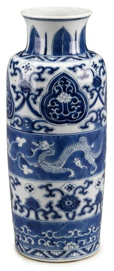 RP - Chinese blue and white porcelain sleeve vase Kangxi period. Vase of typical cylindrical form with an everted rim, decorated in alternating decorative bands featuring dragons, floral scrolls and lingzhi palmettes Blue And White China, Blue China, White Porcelain, Porcelain Vase, Betty Blue, Ancient China, Japanese Pottery, Antique China, Ginger Jars