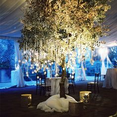 Name cards hanging from white ficus tree. A Romantic, Winter Wedding in Los Angeles, CA. Vibiana LA
