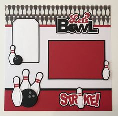 """Premade Handmade """"Bowling"""" Scrapbook Page, Bowling, Bowling Ball, Bowling Pins, Scrapbook Layout by JuliesPaperCrafts on Etsy"""