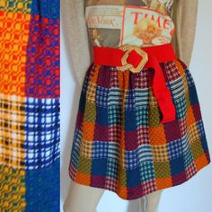 vintage 60s patchwork plaid mini skirt . extra small or small - buy at www.nesteggvintage.etsy.com