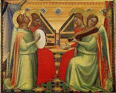 Bernardo Daddi -- Four Musical Angels (about 1340)  Egg tempera on wood - Fox-Strangways Gift, 1828, Christ Church Cathedral, Oxford